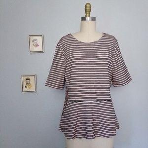 Talbots striped peplum 3/4 sleeve top blouse